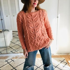 Vintage Chunky Knit Sweater Handmade Peach Small